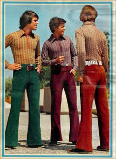 The pants in this photo are bell bottoms. Bell bottom's are tight until the knee then they bell out at the bottom. The leg opening of bell bottoms are wide, but they are not as wide as many people presume. Fashion Male, 80s Fashion, Fashion History, Vintage Fashion, Seventies Fashion, 1970s Fashion For Men, Trendy Fashion, Fashion Quiz, Polo Fashion