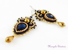"Bead Embroidery Chandelier Earrings Dark Blue by ThezoraArtBijoux Use ""PINTEREST"" coupon at check-out and get 10% OFF!"