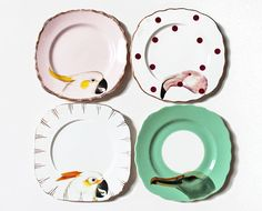 Beautiful Birds plate set por yvonneellen en Etsy