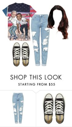 """Sin título #578"" by mary-nava ❤ liked on Polyvore featuring Topshop and Converse"