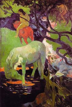 <백마, 고갱>   백마가 마시고 있는 물은 검게 표현된 죽음의 물이다.  붉은 말을 탄 인간은 이 물을 피해서 저 멀리 도망가고 있다. 하지만 백마는 인간을 대신하여 이 물을 마시고 있다.  그럼으로써 인간을 보호하고 자신의 위대함을 드러내고 있다.
