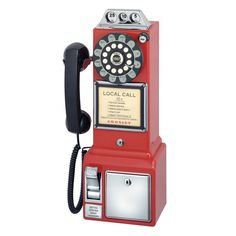 Crosley Radio Crosley Radio Classic Pay Phone (red), Telephones - Drop shipping to your customers Retro Phone, Retro Diner, 50s Diner Kitchen, Vintage Kitchen, American Diner, Vintage Phones, Old Phone, Style Vintage, 1950s Style
