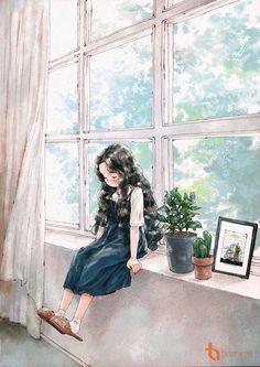 [Artwork] Cuộc sống bình dị của cô nàng độc thân Photo Images, Belles Photos, Paisajes, Watercolor Painting