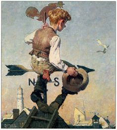 Norman Rockwell -- I came familiar with his work when I was a child going to my pediatricians. Once a year, every year,  I'd go and stare at his 'When I was a boy' piece. I'm grown much fonder of him through out the years. Classic.