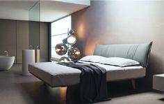 Кровать с мягким изголовьем из ткани Caccaro PARENTESI