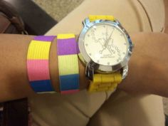 Yellow watch with multicolour friendship bands #blog #blogger #stylist #india #mumbai #stack