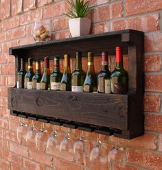 Rustic 10 Bottle Wall Mount Wine Rack with 8 Glass Slot Holder and Top Shelf by KeoDecor on Etsy https://www.etsy.com/listing/161078219/rustic-10-bottle-wall-mount-wine-rack