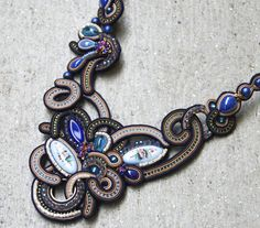 Soutache Necklace / Rostov finift, creme, brown, navy blue from BeadsRainbow in Hamburg, Germany