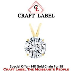 """2.50 Ct Round Brilliant Cut 14K Gold Solitaire Pendant Without Chain """"Mother\'s Day Gift"""". Starting at $1"""