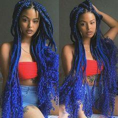 Blue Box Braids, Colored Box Braids, Blonde Braids, Braids With Curls, Jumbo Braids, Blue Hair Black Girl, Black Girl Braids, Braids For Black Women, Braids For Black Hair