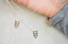 GroopDealz | Dainty Triangle & Square Necklaces