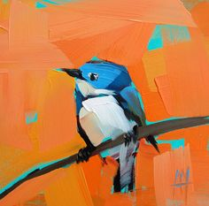 Cerulean Warbler no. 42 original bird oil painting by Moulton 6 x 6 inches on panel  prattcreekart