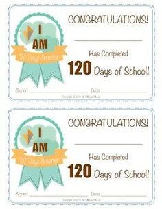 120TH DAY OF SCHOOL AWARDS - TeachersPayTeachers.com