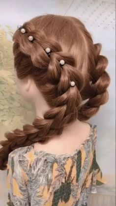 Step By Step Hairstyles, Easy Hairstyles For Long Hair, Creative Hairstyles, Braids For Long Hair, Braids For Girls, Frozen Hairstyles, Hairstyles For Swimming, Hairstyles With Ribbon, Girls Back To School Hairstyles