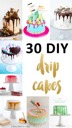 30 Delicious Dripping Cake Ideas Oozing With Icing There is good reason that drip cakes are the hottest trend right now in the cake decorating world. Here are 30 dripping cake ideas for you to enjoy. Creative Cake Decorating, Creative Cakes, Cookie Decorating, Beginner Cake Decorating, Decorating Ideas, Fancy Cakes, Mini Cakes, Cupcake Cakes, Cupcake Icing