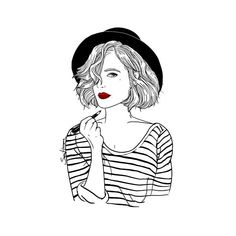 Sara Herranz shared by on We Heart It Art And Illustration, Tumblr Drawings, Art Drawings, Hipster Drawings, Tumblr Outline, Gif Disney, Art Inspo, Art Girl, Line Art