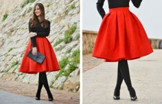 Red Midi Skirt Winter Outfit