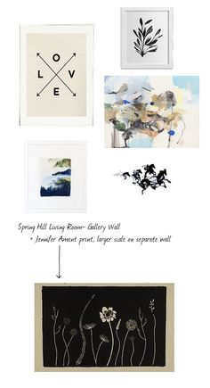 gallery wall, combining and grouping art for the Spring Hill project on the blog today, Yao Cheng, Claire Elsaesser, Jennifer Ament