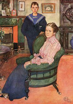 'Daga and Edgar' - Carl Larsson Carl Larsson, Amber Tree, Art Addiction, Art Nouveau, Scandinavian Christmas, Renaissance Art, Museum Of Fine Arts, Portrait Art, Portraits