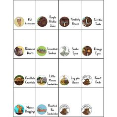 This listing is for a complete Gruffalo food sign set. What you will be able to download: Two PDF files (8,5x11 and A4) with 4 sheets to print (as