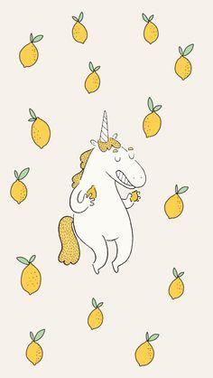 Funny Lemon Unicorn iPhone Wallpaper