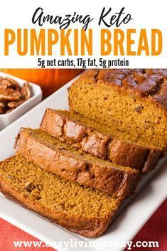 The perfect ketogenic diet snack for the fall. Only net carbs! via Delicious low carb keto pumpkin bread recipe. The perfect ketogenic diet snack for the fall. Only net carbs! Keto Diet List, Starting Keto Diet, Keto Meal, Diet Menu, Desserts Keto, Keto Snacks, Protein Snacks, Comida Keto, Weight Watchers Desserts