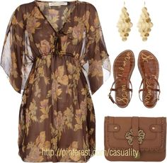 """Brown Flower Printed Top & Thong Sandals"" by casuality on Polyvore"