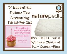 "#GIVEAWAY   Enter for the chance to #WIN a 3"" Essentials Pillow Top Topper from Naturepedic in YOUR choice of size (ARV $499 to $999)   Giveaway ends 02/21/2104 at 11:59 PM  http://www.griffinshoney.com/naturepedic-3-essentials-pillow-top-giveaway-event/"