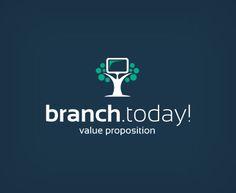 """""""Branch.Today!"""" - логотип для облачного бизнес-сервиса (быстрый запуск новых филиалов). Дизайнер - Ольга Шу. #логотип #филиал #branch #tree #дерево #logo #лого #дизайн #design #logodesign #logotype #tailroom #inspiration"""