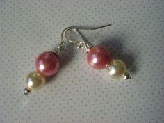 Bridal Pearl Earrings Rose Pink & Ivory Pearl by ScarlettRose. $10.00, via Etsy.