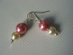Bridal Pearl Earrings Rose Pink & Ivory Pearl by ScarlettRose. $10.00, via Etsy.