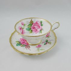 "Royal Stafford ""Berkeley Rose"" Tea Cup and Saucer with Pink Roses, Vintage Bone China Vintage China, Vintage Tea, Tea Cup Saucer, Tea Cups, English Tea Time, Royal Stafford, Pink Cups, Beautiful Roses, Beautiful Things"