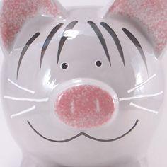 Alcancía de gatito gris  personalizadas Piggy Bank  Kitty