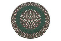 Dark Green, Navy, Burgundy & Beige - Dark Green Band Round Braided Rug This high-quality braided rug is made by American workers at our family-owned business in the North Carolina Mountains. It is made from Naturalized Olefin, which is a synthetic, polypropylene yarn that is extremely durable, yet soft enough for use indoors. It is color fast and washable. Visit www.stroudbraided... for more details