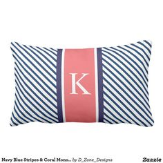 Shop Navy Blue White Stripes & Pink Monogram Lumbar Pillow created by D_Zone_Designs. Coral Throw Pillows, Monogram Pillows, Custom Pillows, Decorative Throw Pillows, Blue Stripes, Navy Blue, Blue And White, Taupe, Beige