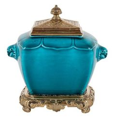 Theodore DECK (1823-1891) Covered inkwell with canted china turquoise & bronze carved gilt frame. Foliage decoration & perforated pagoda-roof-inspired lid.