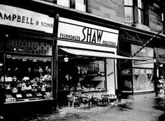 Malcolm Campbell & Sons ( the Deli and posh shop ! ) and Shaw Fishmonger's new shop front at  384a Victoria Rd, Govanhill, Glasgow Southside ......1938