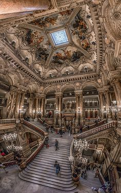 Opéra Garnier interior with a wide angle lens. Avenue Vendome in Paris. Opéra Garnier interior with a wide angle lens. Avenue Vendome in Paris. Places Around The World, Oh The Places You'll Go, Places To Travel, Places To Visit, Around The Worlds, Travel Things, Travel Stuff, Beautiful Architecture, Beautiful Buildings