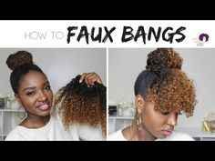 Curly Bangs and Faux Bun on Natural Hair !! || Protective Style || Hairstyles for Short 4 Hair Type - YouTube