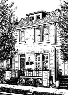 Custom House Portrait by Suzanne Churchill, Pen & Ink Drawing or Watercolor painting, 8 x 10, GIFT CERTIFICATE AVAILABLE