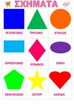 ΣΧΗΜΑΤΑ Preschool Education, Preschool Worksheets, Greek Language, Speech And Language, Language Activities, Preschool Activities, Greek Writing, Learn Greek, Alphabet Wall Art