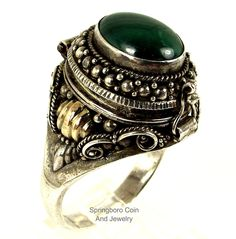 Sterling Silver 14K GOLD Etruscan Malachite Gemstone POISON~SNUFF Size 13 Ring #Unbranded #PoisonSnuffEtruscan