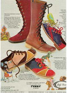 "Lady Dexter Shoes Ad, 1971 - ""It Takes a Funky Chicken to Lay a Funky Egg"" - loved crepe soles on shoes"