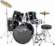 The Percussion Plus 5 Piece drum set is a complete drum kit in a black finish. Offering 9-Ply wooden shells, sturdy hardware, and Remo brand drum heads, this kit is ready to rock strait out of the box
