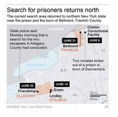 In a news release posted late Friday, June 19, 2015, State Police say two men fitting the description of inmates David Sweat and Richard Matt were seen a week ago in Steuben County, New York, over 300 miles southwest of the prison in Dannemora.  - © Provided by Associated Press