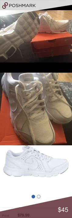 Nike shoes Nike shoes size 7y Nike Flex Experience LTR GS Leather White Youth Shoes  Perfect condition  Used only for two hours indoor Shoes Sneakers