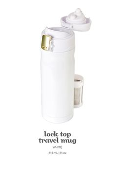 white lock top travel mug. This leakproof travel mug in crisp white keeps your tea hot and toasty for ages