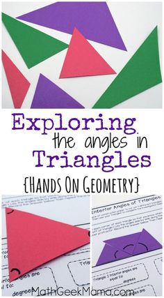 These hands on geometry lessons are such a great way to help kids see the relationship between the interior and exterior angles in triangles! This free download is simple to use and includes teaching tips and an answer key!