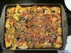 NACHOS!! chips $2, ground turkey $4, cheese $2, tomato, onion, jalapeno, olives $2 = $10 still cheaper than the bar!  Want the recipe? 1/2 bag tortilla chips 1lb ground extra lean turkey 1/2 bag shredded cheddar cheese 1 tomato diced 1 onion diced 2 jalapenos cut into rings 1 can olives cut into rings Brown the turkey in a skillet until it is cooked through. Season well with salt, pepper, and something spicy. Layer tortilla chips, most of the cheese, turkey, onions, tomato, and olives on a…