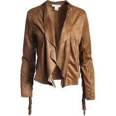 Sans Souci Camel fringed sleeve faux suede water fall jacket ($49) ❤ liked on Polyvore featuring outerwear, jackets, camel, waterfall jackets, faux suede fringe jacket, fringe jacket, camel jacket and brown fringe jacket